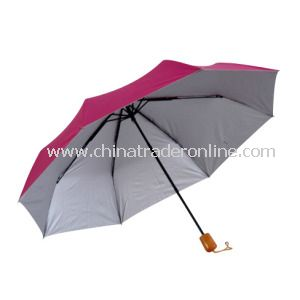 3fold Manual Super Min Polyester Fabric Silver-Coated Sun Umbrella