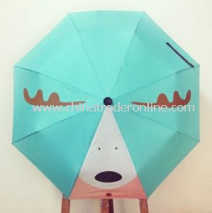 Manual Printing Lady Promotional 3 Folding Sun Umbrella