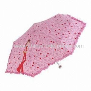 Folding Umbrella with Aluminum Shaft, Made of Nylon or Polyester Materials, OEM Order Are Accepted from China