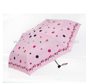 Pink Beautiful Girls Ultralight Parasol 3 Folding Umbrella