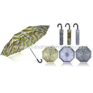 Small Crook Handle Animal Printed Folding Umbrella