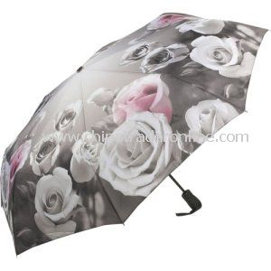 Wholesale Self-Sleeve Rose Design Leisure 3 Folding Umbrella