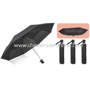 Windproof Manual Open Black Color 3 Folding Umbrella