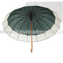 23inch 24panles Big Wooden Shaft Straight Umbrella from China