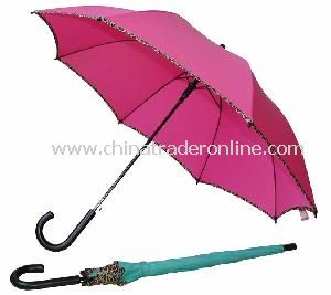 23inch Solid Polyester Hook Handle Straight Umbrella
