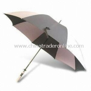 Golf Umbrella, Made of Polyester Fabric, with Straight EVA Handle and Fiberglass Ribs, OEM Order Are Accepted