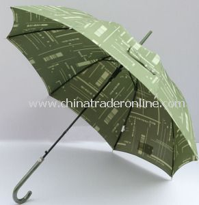 Green Color Automatic Polyester Waterproof Outdoor Straight Umbrella from China