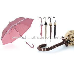 Ladies Polka Dots Printed Coordinated Handle Frilled Straight Umbrella