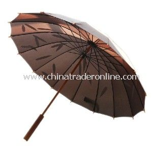 Manual Unique Wooden Anti-UV Sun Straight Golf Umbrella