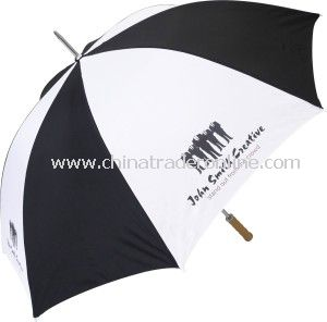 Black and White Windproof Straight Advertising Golf Umbrella