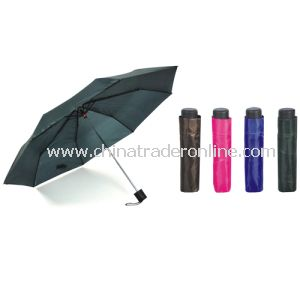 Manual Open Black Color Polyester 3 Folding Umbrella