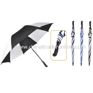 Automatic Open Windproof Black and White Golf Umbrella