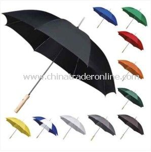 Automatic Pongee Wood Handle Straight Golf Umbrella