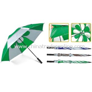 Green and Silver Vented Double Canopy Golf Umbrella