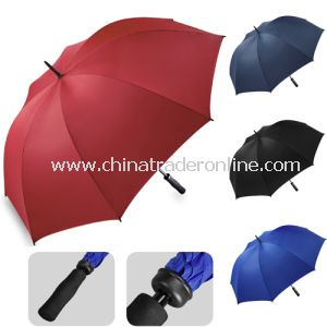 Manual Open Double Fluted Ribs Red Golf Umbrella
