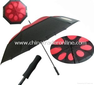 Top Quality Automatic Fiberglass Double Windproof Golf Umbrella