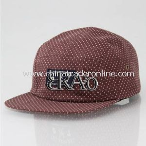 Checked Canvas Washed 5 Panel Printed Leather Cap