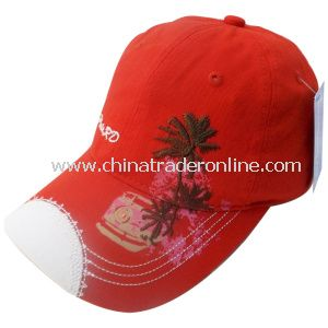 Washed Cap with Applique to Peak Edge from China